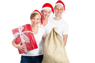 gruppe mit Weihnachtsgeschenk
