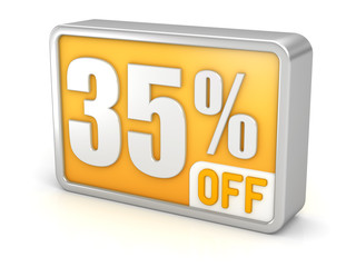 Discount 35% sale 3d icon on white background