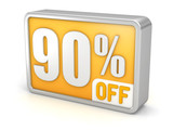 Discount 90% sale 3d icon on white background