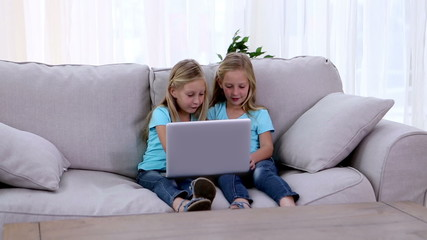 Two sisters playing with laptop