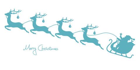 Christmas Sleigh Santa & 4 Flying Reindeers Retro