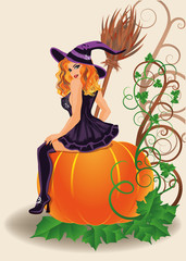 Halloween sexy witch and pumpkin, vector