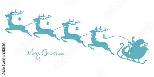 Christmas Sleigh Santa & 4 Flying Reindeers Retro