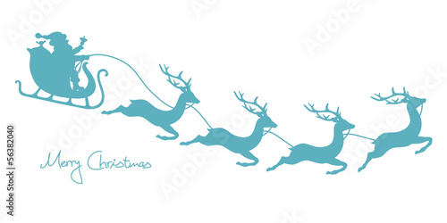 Christmas Sleigh, Santa & 4 Flying Reindeers Retro