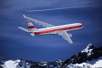 Passagierflugzeug über den Alpen