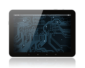 Tablet PC with circuit board on white background.