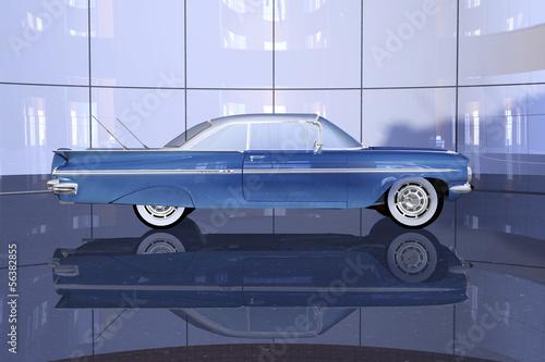 Amerikanischer Strassenkreuzer vormoderner Glasfassade