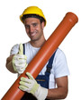 Latin worker with water pipe showing thumb