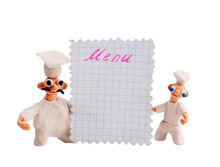 Two chefs from plasticine