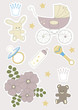 Set of Baby Objects' Stickers