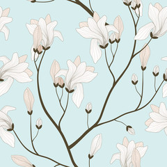 Vector Seamless Pattern with Blooming Branches