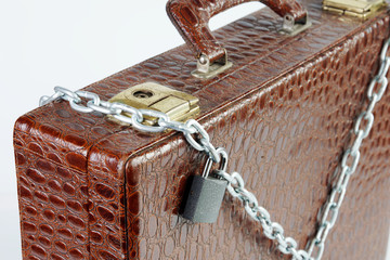 Chained case with a padlock
