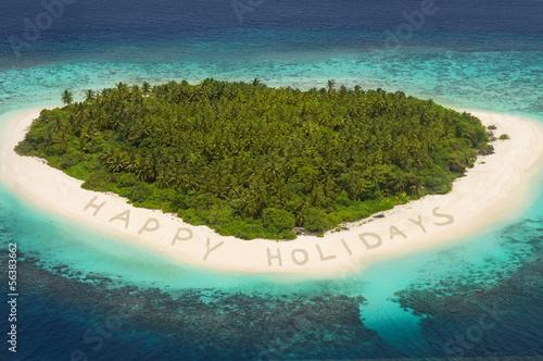 Fototapeten,insel,schriften,happy holidays,strand
