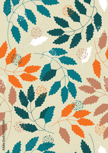 Panel Szklany Vector Seamless Pattern with Leaves