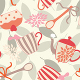 Vector Seamless Pattern with Tea Utensils