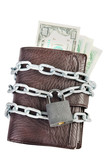 Wallet full of money is chained with a locked padlock