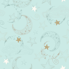 Vector Seamless Pattern with Stars and Crescent