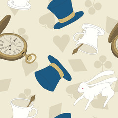 Vector Seamless Pattern with Top Hat, Rabbit, Watch and Cup