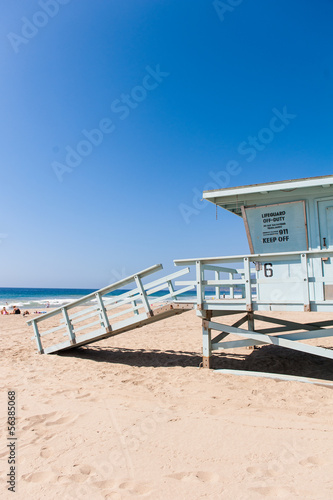 Life Guard Tower under the blue sky in Malibu beach