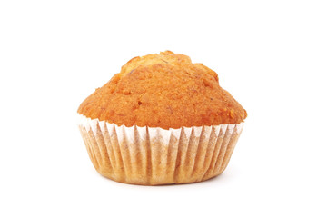 Banana cup cake on white background