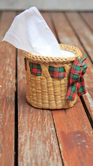 Tissue paper box made by basketry bamboo.
