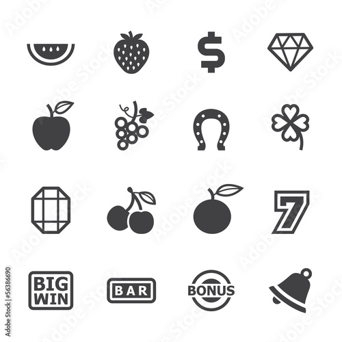 Slot Machine Icons with White Background