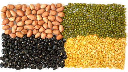 Mix from different beans isolate on white background