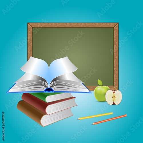 Chalkboard and books