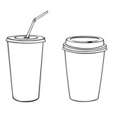 vector silhouettes of plastic cups