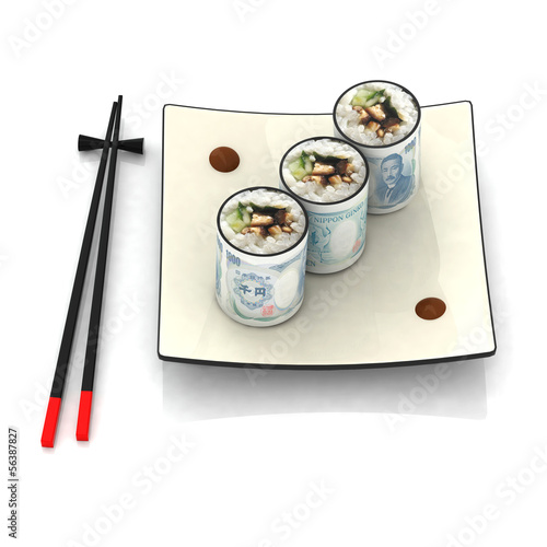 sushi yen illustration