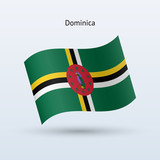 Dominica flag waving form. Vector illustration.