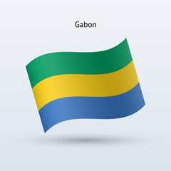 Gabon flag waving form. Vector illustration.