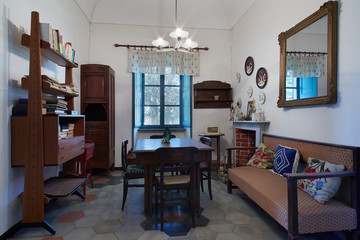 Living room in old house in Italy