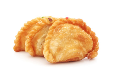 curry puff on white background