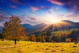 Fototapety Colorful autumn sunset in the mountains.