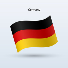 Germany flag waving form. Vector illustration.