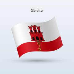 Gibraltar flag waving form. Vector illustration.