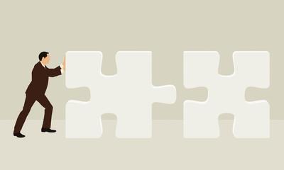 Geschäftsmann mit Puzzle - Illustration