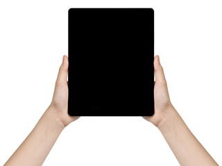 female teen hands holding generic tablet vertical