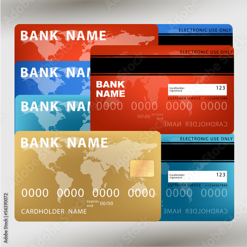 vector illustration of detailed credit card visa