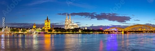 canvas print picture Cologne city panorama, Germany