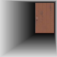 wooden door with wooden handle and keyhole