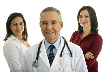 Senior Male Doctor with Administrators