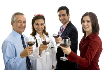 Small group of doctor and business people toasting