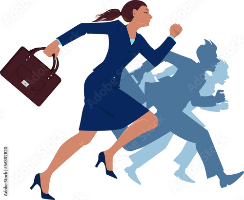Businesswoman running competing with men