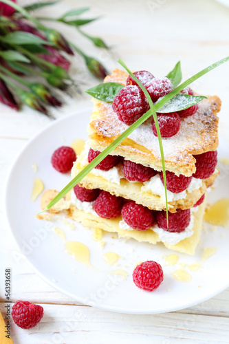 raspberry dessert with cream air, millefeuille