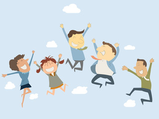 Happy business teamwork jumping in the air