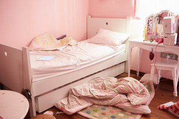 Empty And Untidy Child's Bedroom