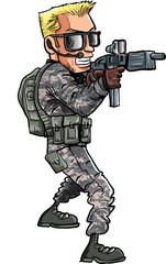 Cartoon of a Soldier with a sub machine gun