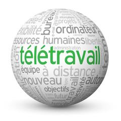 """Globe - Nuage de Tags """"TELETRAVAIL"""" (télétravail à domicile job)"""